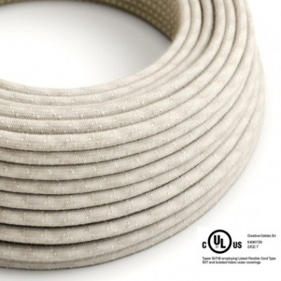 Round Electric Cable 150 ft (45,72 m) coil RN01 Neutral Natural Linen - UL listed