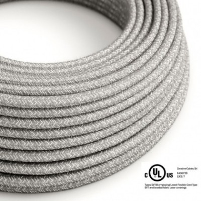 Round Electric Cable 150 ft (45,72 m) coil RN02 Grey Natural Linen - UL listed