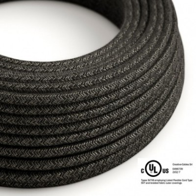 Round Electric Cable 150 ft (45,72 m) coil RN03 Anthracite Natural Linen - UL listed