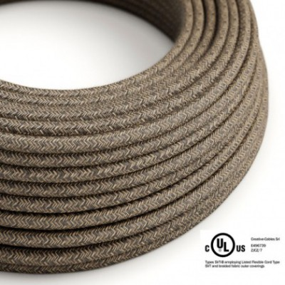 Round Electric Cable 150 ft (45,72 m) coil RN04 Brown Natural Linen - UL listed
