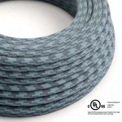 Round Electric Cable 150 ft (45,72 m) coil RP25 Bicoloured Stone Grey and Ocean Cotton - UL listed