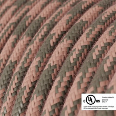 Round Electric Cable 150 ft (45,72 m) coil RP26 Bicoloured Ancient Pink and Grey Cotton - UL listed