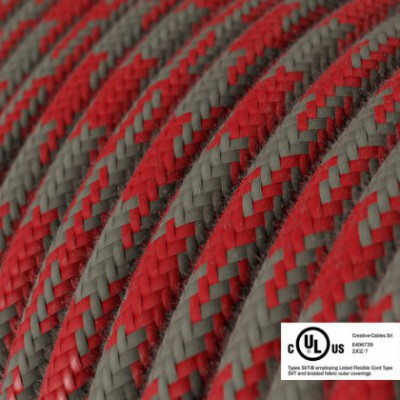 Round Electric Cable 150 ft (45,72 m) coil RP28 Bicoloured Fire Red and Grey Cotton - UL listed