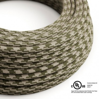 Round Electric Cable 150 ft (45,72 m) coil RP30 Bicoloured Thyme Green and Dove Cotton - UL listed