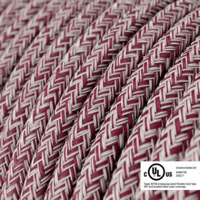 Round Electric Cable 150 ft (45,72 m) coil RS83 Glittering Burgundy Cotton and Natural Linen - UL listed