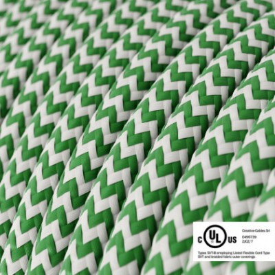 Round Electric Cable 150 ft (45,72 m) coil RZ06 ZigZag Green Rayon - UL listed