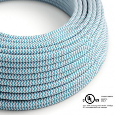 Round Electric Cable 150 ft (45,72 m) coil RZ11 ZigZag Turquoise Rayon - UL listed