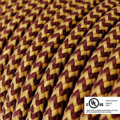 Round Electric Cable 150 ft (45,72 m) coil RZ23 ZigZag Gold and Burgundy Rayon - UL listed