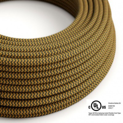 Round Electric Cable 150 ft (45,72 m) coil RZ27 ZigZag Golden Honey and Anthracite Cotton - UL listed