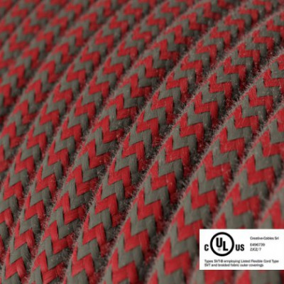 Round Electric Cable 150 ft (45,72 m) coil RZ28 ZigZag Fire Red and Grey Cotton - UL listed