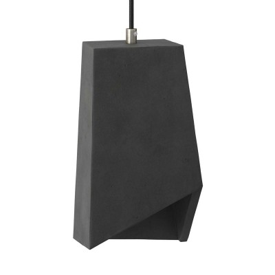 Prisma cement lampshade for suspension, with cable clamp and E27 lamp holder