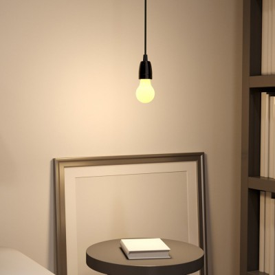 Pendant lamp with textile cable and porcelain details - Made in Italy