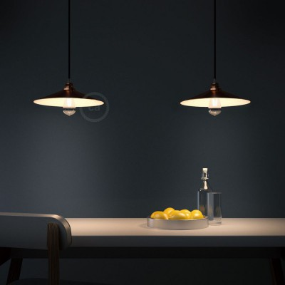Pendant lamp with textile cable, Swing lampshade and metal details - Made in Italy - Bulb included