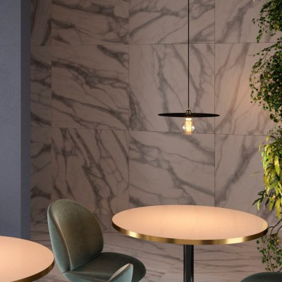 Pendant lamp with textile cable, oversized Ellepi lampshade and metal details - Made in Italy - Bulb included