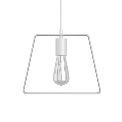 Pendant lamp with textile cable, Duedì Base lampshade and metal details - Made in Italy - Bulb included