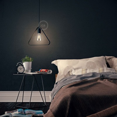Pendant lamp with textile cable, Duedì Apex lampshade and metal details - Made in Italy - Bulb included