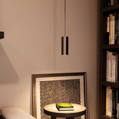 Pendant lamp with textile cable, Tub-E14 lampshade and metal details - Made in Italy - Bulb included