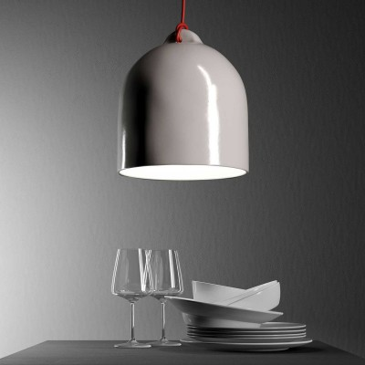 Pendant lamp with textile cable and lampshade Bell M in ceramic - Made in Italy - Bulb included