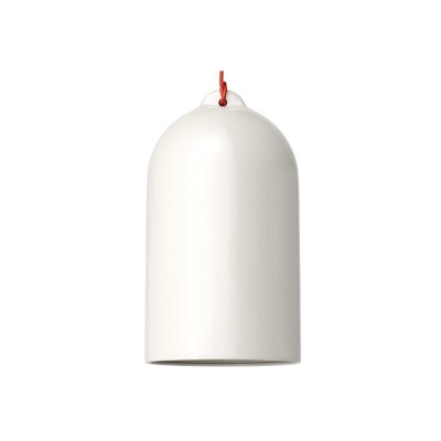Pendant lamp with textile cable and Bell XL ceramic lampshade - Made in Italy - Bulb included