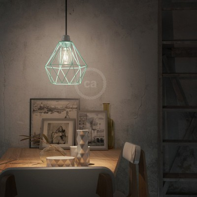 Pendant lamp with textile cable, Diamond cage lampshade and metal details - Made in Italy - Bulb included