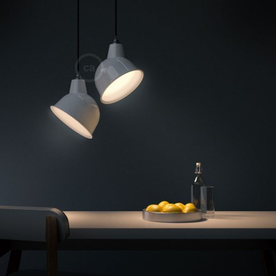 Pendant lamp with textile cable, Broadway lampshade and metal details - Made in Italy - Bulb included