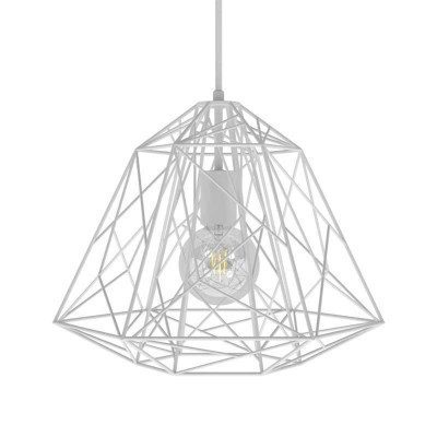 Pendant lamp with textile cable, Apollo lampshade and metal details - Made in Italy - Bulb included