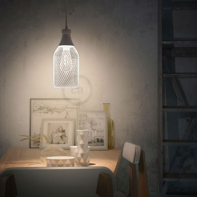 Pendant lamp with textile cable, Jéroboam bottle lampshade and metal details - Made in Italy - Bulb included