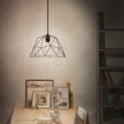 Pendant lamp with textile cable, Dome lampshade and metal details - Made in Italy - Bulb included
