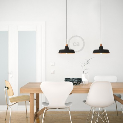 Pendant lamp with textile cable, Industrial ceramic lampshade and metal finishes - Made in Italy - Bulb included