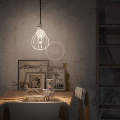 Pendant lamp with textile cable, Drop cage lampshade and metal details - Made in Italy - Bulb included