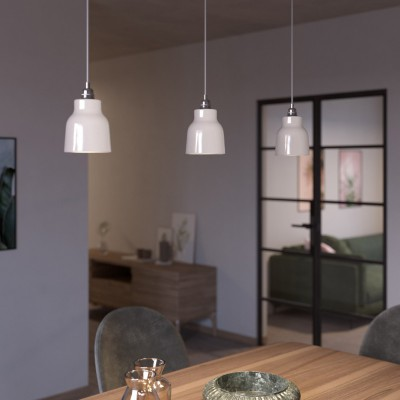 Pendant lamp with textile cable, Vase ceramic lampshade and metal details - Made in Italy - Bulb included