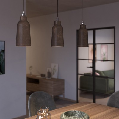 Pendant lamp with textile cable, Bottle ceramic lampshade and metal details - Made in Italy - Bulb included
