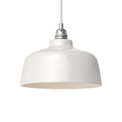 Pendant lamp with textile cable, Cup ceramic lampshade and metal details - Made in Italy - Bulb included