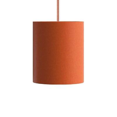Pendant lamp with textile cable, Cylinder fabric lampshade and metal details - Made in Italy - Bulb included