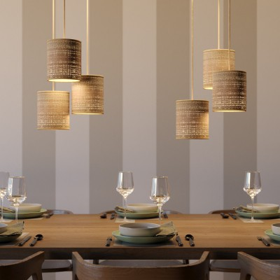 Pendant lamp with textile cable, raffia Cylinder lampshade and metal details - Made in Italy - Bulb included