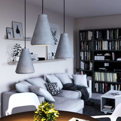 Pendant lamp with textile cable, Funnel cement lampshade and metal details - Made in Italy - Bulb included