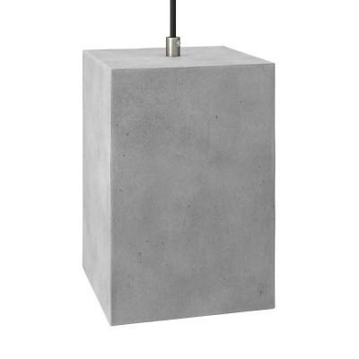 Pendant lamp with textile cable, Cube cement lampshade and metal finishes - Made in Italy - Bulb included