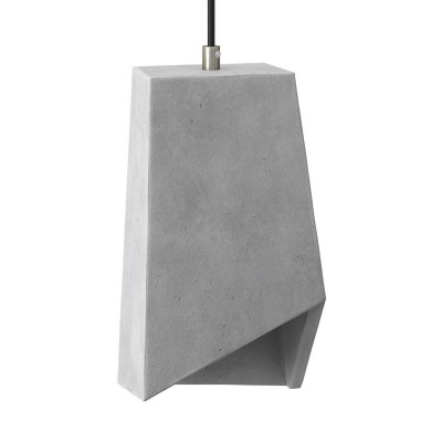 Pendant lamp with textile cable, Prisma cement lampshade and metal finishes - Made in Italy - Bulb included