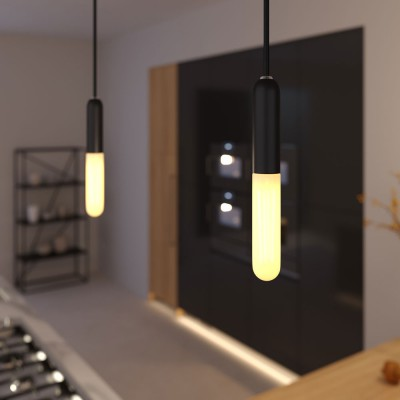 Pendant lamp with textile cable, E14 P-Light lamp holder and metal details - Made in Italy - Bulb included
