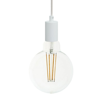 Pendant lamp with textile cable and monochrome metal details - Made in Italy - Bulb included