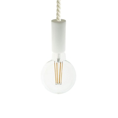 Pendant lamp with XL 16mm nautical cord painted wood details - Made in Italy - Bulb included