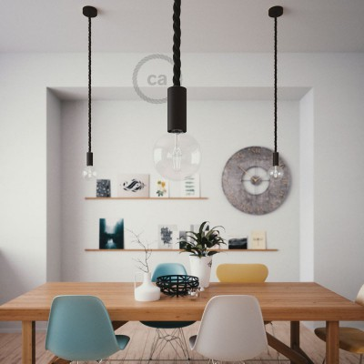 Pendant lamp with 2XL 24mm nautical cord painted wood details - Made in Italy - Bulb included