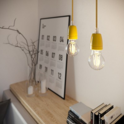 Pendant lamp with textile cable and coloured porcelain details - Made in Italy - Bulb included