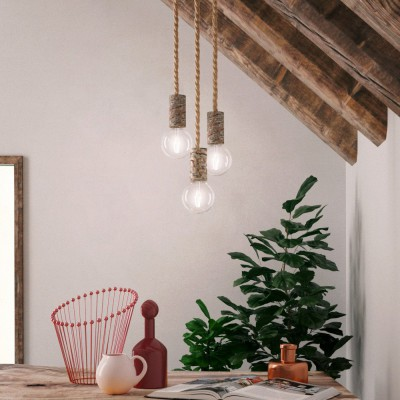 Pendant lamp with nautical cord XL and small bark lamp holder - Made in Italy - Bulb included