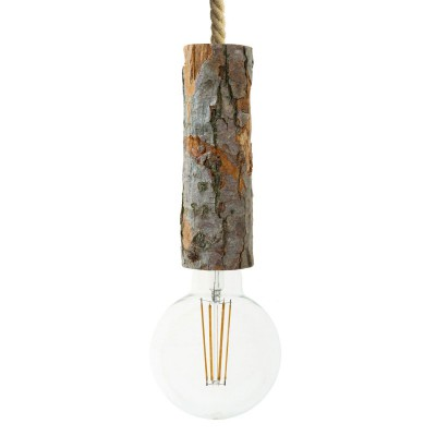 Pendant lamp with nautical cord XL and large bark lamp holder - Made in Italy - Bulb included