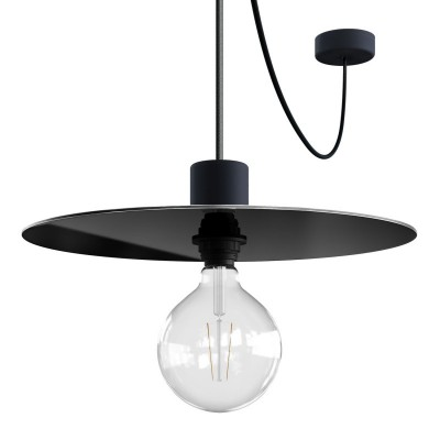 EIVA ELEGANT Pendant light with 5 m fabric cable, Ellepì lampshade, ceiling rose and lamp holder in IP65 waterproof silicone