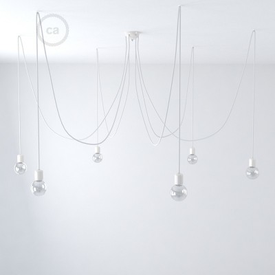 Multiple pendant lamp with 6 falls Made in Italy complete with fabric cable and coloured ceramic finishes