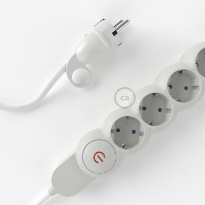 German Power Strip with electrical cable covered in rayon White fabric RM01 and Schuko plug with confort ring