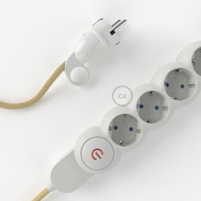 German Power Strip with electrical cable covered in Jute RN06 and Schuko plug with confort ring