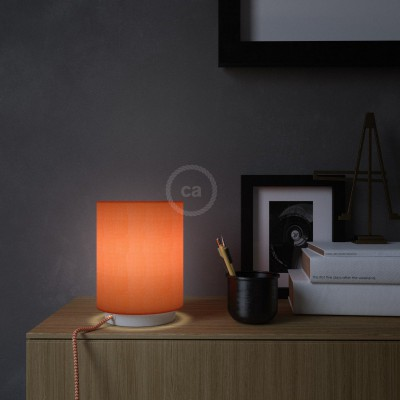 Posaluce in metal with Lobster Cinette Cilindro lampshade, complete with fabric cable, switch and UK plug
